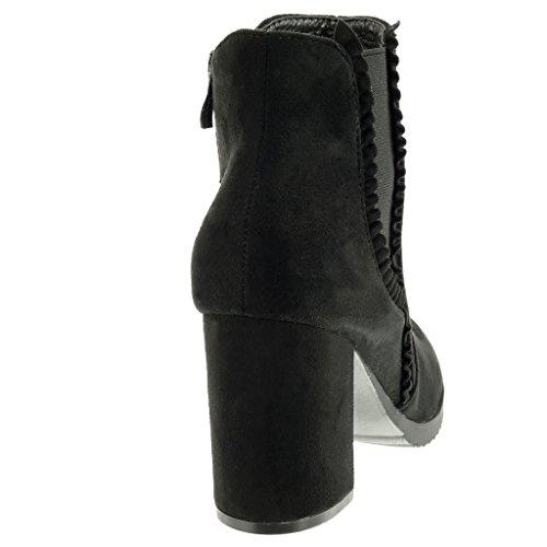 Angkorly Zapatillas Moda Botines chelsea boots cavalier mujer trenzado Tacón ancho alto 8.5 CM Negro