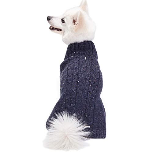 Knit Turtleneck Dog Sweater - Blueberry Pet 2019 New 4 Colors NEP Yarn Wool Blend Cable Knit Pullover Turtleneck Dog Sweater in Deep Charcoal, Back Length 12
