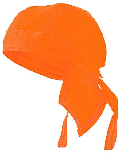 (Blaze Orange Doo Rag Hunting Cap Headwrap Hi-Vis Safety Bandana Halloween)