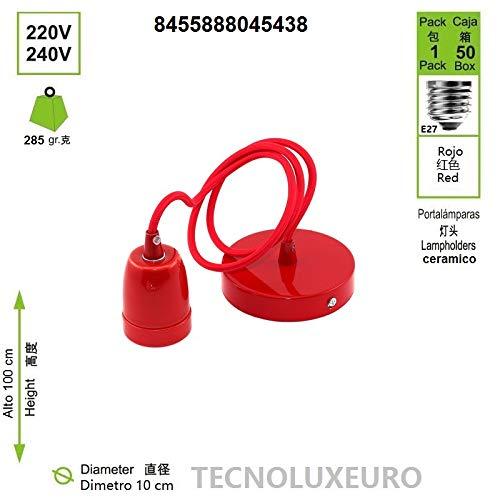 l/ámpara colgante de colores con cable ajustable 1 m para casquillo E27 Rojo Portal/ámpara de cer/ámica colgante