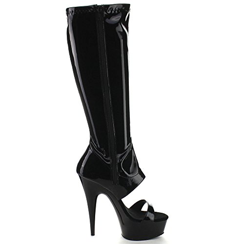 Pleaser DELIGHT-600-47 Blk Str Pat/Blk Size UK 4 EU 37