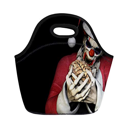 Semtomn Neoprene Lunch Tote Bag Santa Zombie Brains Scary Clown Wearing Claus Suit About Reusable Cooler Bags Insulated Thermal Picnic Handbag for Travel,School,Outdoors,Work -