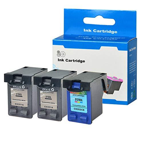 SuperInk 3PK (2 Black+1 Color) Remanufactured Ink Combo for HP 21XL 22XL Ink Cartridge DeskJet D2400 D2430 D2445 D2460 Printer,475/415 Pages Yield ()