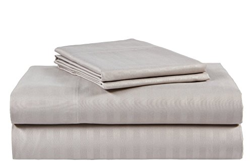 Bonne Nuit 400-Thread-Count 100% Cotton Sheet Stripe Silver Grey Queen-Sheets Set, 4-Piece Long-Staple Combed Cotton Sheets for, Breathable, Soft & Silky Striped Sateen Weave Fits Mattress Upto 17'' from Bonne Nuit