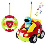 SGILE Remote Control Car for Toddlers with Sound and Light, RC Cartoon Racer Police Car Toys Birthday Gift Present for 3 Year Olds Boys Girls Kids (A- Red)