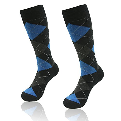 Argyle Knit Dress (Crew Dress Socks, SUTTOS Men's Youth Blue Black Argyle Dobby Jacquard Fashion Fun Pattern Charged Cotton Knit Long Tube Socks Wedding Groomsmen Wedding Socsk Gifts Business Suit Socks,10 Pairs)