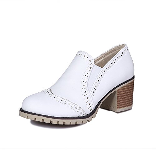 Pumps Pull Closed Toe White Women's Material On Solid WeenFashion Shoes Heels Round Kitten Soft f6vzqWPIWH