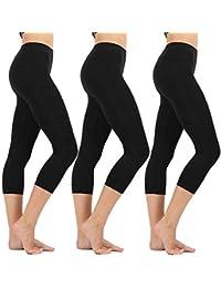 78ef12dba232b5 High Waisted Soft Capri Leggings for Women-Tummy Control and Elastic Opaque  Slim-One