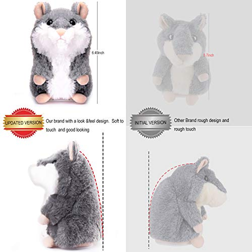 XYH Upgrade Talking Hamster Repeats What You Say Electronic Pet Talking Plush Toy, Ideal Gift for Kids. (Gray)