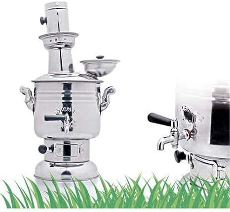 Turkish Handmade Chrome-Steel Samovar Champing Tea//Coffee Maker With Charcoal 4L