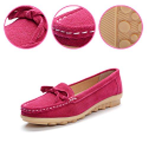 Faloaon Womens Bowknot In Pelle Scamosciata Slip On Driving Shoes Penny Mocassini Marrone