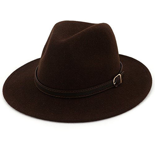 (Lisianthus Women's 100% Wool Fedora Panama Hat Wide Brim with Belt Coffee)