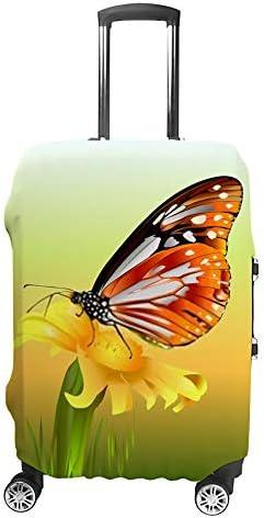 スーツケースカバー トラベルケース 荷物カバー 弾性素材 傷を防ぐ ほこりや汚れを防ぐ 個性 出張 男性と女性蝶摘み花