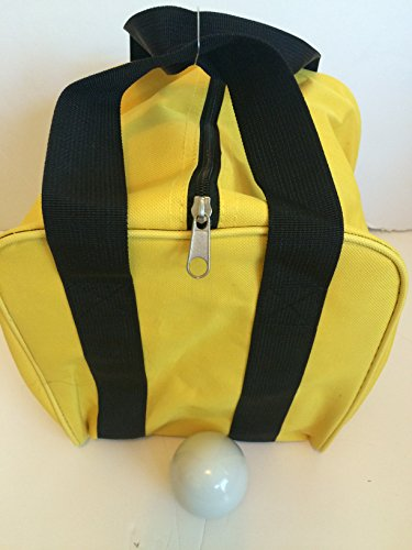 Unique Bocce Accessories Package - Extra Heavy Duty Nylon Bocce Bag (Yellow with Black Handles) and White pallina by BuyBocceBalls