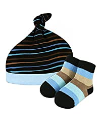 Stephan Baby Boy Striped Blue Dog Hat Cap & Socks Set, Preemie