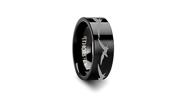 Thorsten Dinosaur Ring Teradactyl Prehistoric Paleo Flat Black Tungsten Ring 12mm Wide Wedding Band from Roy Rose Jewelry