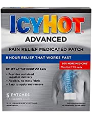 Icy Hot Advanced Pain Relief Medicated Patch - Relieves Deep Discomfort from Back, Neck, Knee, Joint Aches, Sciatica, and Muscle Strains - Flexible Fabric - Ultra-Thin, Fast-Acting, and Long-Lasting