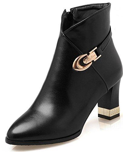 Aisun Damen Elegant Spitz Zehen Reißverschluss Blockabsatz Metallic Schnalle Chelsea Stiefel Schwarz 41 EU PRiCxp