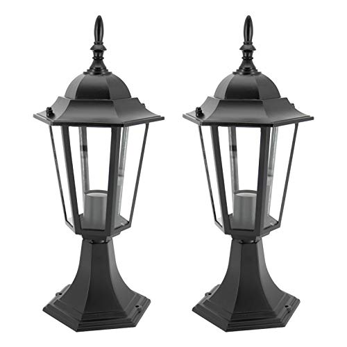 Post Black Cast Lantern - IN HOME 1-Light Outdoor Garden Post Lantern L01 Lighting Fixture, Traditional Post Lamp Patio with One E26 Base, Water-proof, Black Cast Aluminum Housing, Clear Glass Panels, (2 Pack) ETL Listed