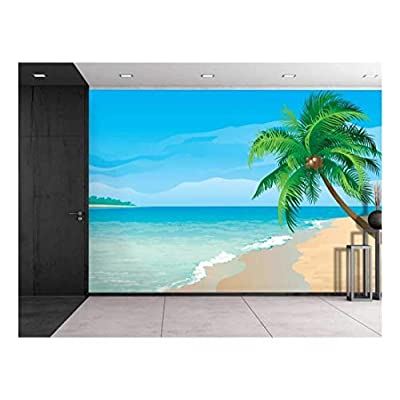 Elegant Handicraft, Large Wall Mural Image of Tropical Scenery with Palm Trees Vinyl Wallpaper Removable Decorating, Created By a Professional Artist
