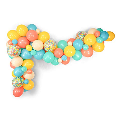 Mefuny 80 Ct Mixed 12 Inch 10 Inch Pastel Yellow Coral Blue Blush Tiffany Blue Latex Balloon Confetti Balloons Wedding Birthday Christening Girl Baby Shower Party Decoration