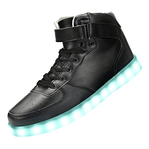 Price comparison product image GreatJoy Cool Fun Light Up LED Shoes Sneaker 7 Colors USB Charging (37 / 6B Women / 4.5D Men,  Black)