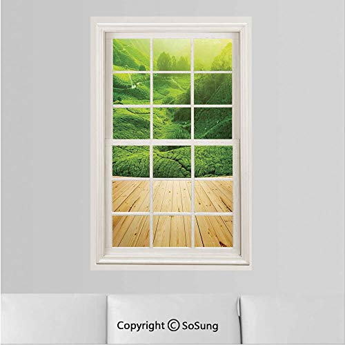Farm House Decor Removable Wall Sticker/Wall Mural,Highlands Tea Plantations from Wood Balcony Perspective Sunrise in Eary Morning with Fog Creative Window View design Wall Decor,19.6