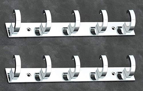 iSTAR 5 Pin Bathroom Cloth Hooks Hanger Door Wall Bedroom Bathroom Robe Hooks Rail for Hanging Keys,Clothes,Towel Steel Hook  Silver   Pack of 2