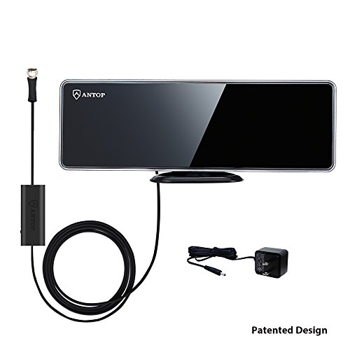 ANTOP Flat-panel AT-202B Smartpass Amplified TV Antenna with High Gain and Built-in 4G LTE Filter–40/50 Mile Long Range Multidirectional Digital TV Antenna - Piano Black -10ft Cable - 4K UHD Ready (4g Fm Transmitters)