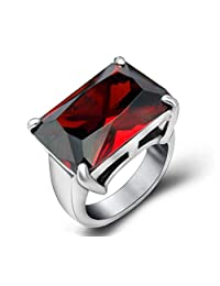 Tyzon Fashion Design Red Gem Queen Stainless Steel Womens Ring