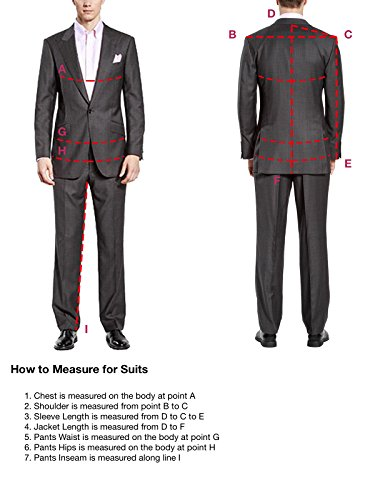 HBDesign Mens 2 Piece 2 Button Peak Lapel Business Formal Suits Light Khaki 48R by HBDesign (Image #4)