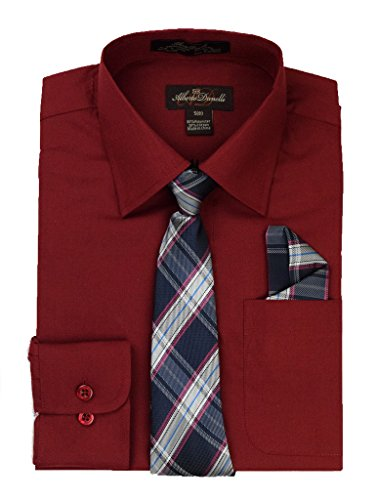 Alberto Danelli's Boys Long Sleeve Dress Shirt with Matching Tie and Handkerchief, 14/16, Wine