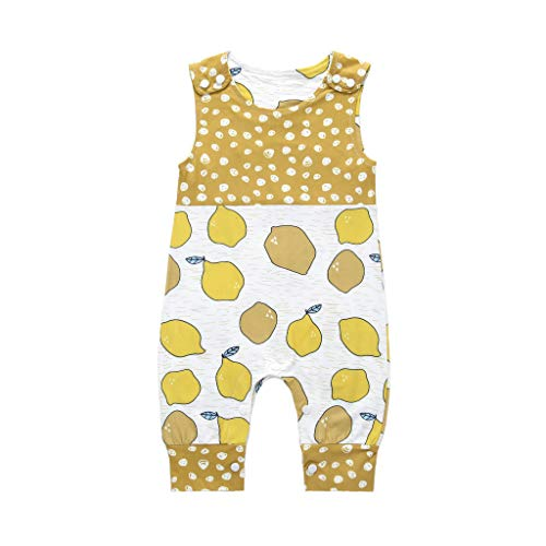 Unisex Baby Romper, Waymine Sleeveless Cartoon Animal Giraffe Dog Fried Egg Print Summer Jumpsuit Yellow ()