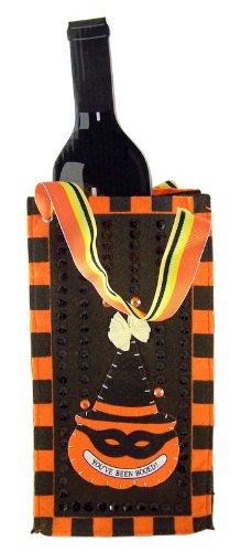 You've Been Booed! Halloween Game Pumpkin Wearing Witch Hat Orange & Black Boo Bag Wine Tote