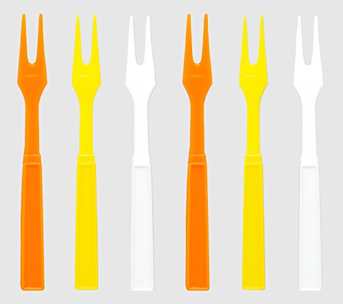 Easter Par-T-Fork, 60 Orange, Yellow, and White Plastic Cocktail Forks, 3.25 Inch Appetizer (Yellow Cocktail Fork)