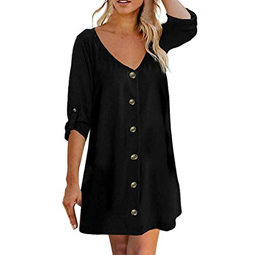 Lotus.Flower Women's Roll Tab 3/4 Sleeve V Neck Button Down Casual Flowy Mini Tunic Dress Black