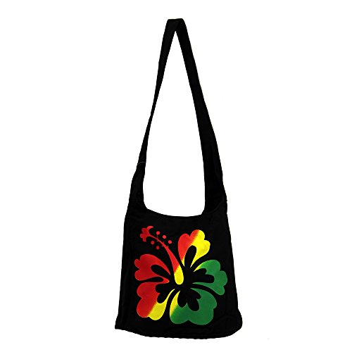 Bohemian Reggae Black Rasta Purse w/ Hibiscus Flower Hobo Shoulder Bag Satchel Crossbody