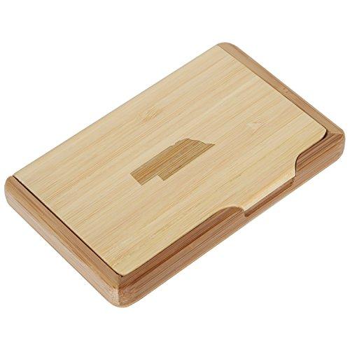 (Nebraska Bamboo Business Card Holder with Laser Engraved Design - Business Card Keeper - Holds Up to 10 Cards - Lightweight Calling Card Case)