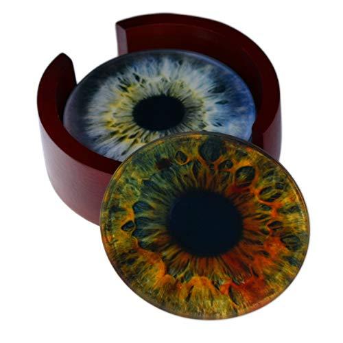 Eye Iris Images Coaster Set - Caddy Included