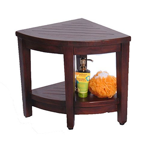 Oasis Fully Assembled Teak Corner Shower Bench With Shelf