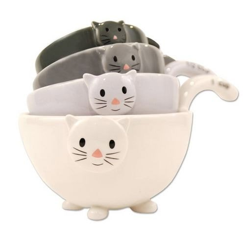 Ceramic Cat Measuring Cups/ Baking Bowls by One Hundred and Eighty Degrees