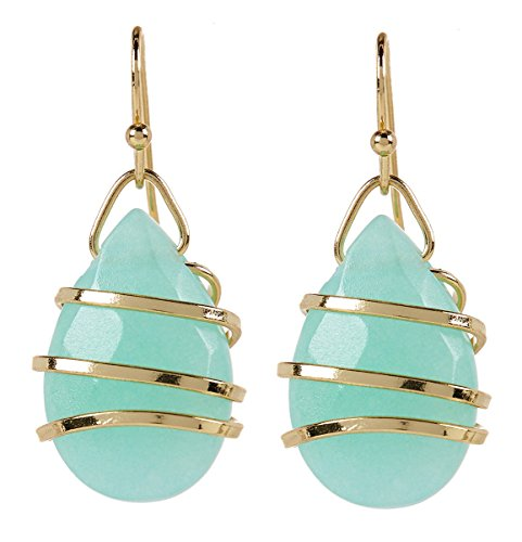 Wholesale Gemstone Earrings - Wrapped Amazonite Teardrop Wholesale Gemstone Jewelry Earrings