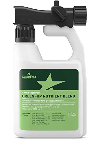 LawnStar Green-Up Lawn Supplement + Booster (32 OZ) w/Slow Release Nitrogen + Micronutrients - Rapid Greening on All Grasses, All Year Round Solution, Spring & Summer Turf Fertilizer - American Made (Best Lawn Fertilizer For Summer)