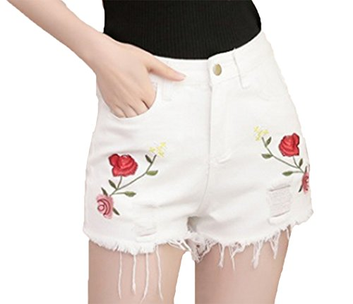 Jeans Lady Huateng le Summer 2 donne per Holes ricamati Shorts AIqSwqZ
