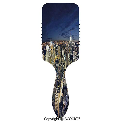 Detangling Hair Brush Soft Comb Cushion Air Modern Cityscape After Sunset Manhattan New York USA Architectural View Hairbrush for Women Reducing Hair Breakage and Frizzy, No More Tangle