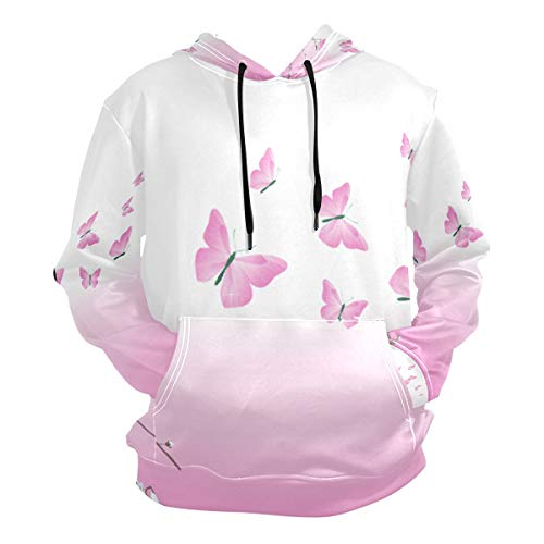 Pink Butterfly Flower Hoodie 3D Pullover Hooded Long Sleeve Workout Sweatshirts]()