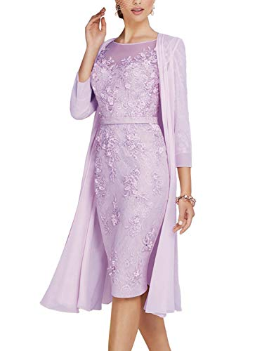 Newdeve Lace Mother of The Bride Dresses Tea Length Sheath 3/4 Sleeves with Chiffon Jacket Lavender