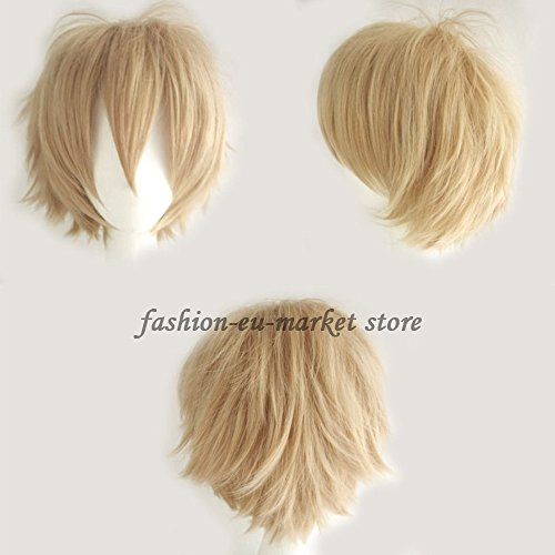 Synthetic Short Straight Fluffy Full Wig Oblique Fringe for Anime Cosplay Costume Party for Men / Women -- 20 Light/Deep Colors (linen blonde) - Fai Tsubasa Cosplay Costume