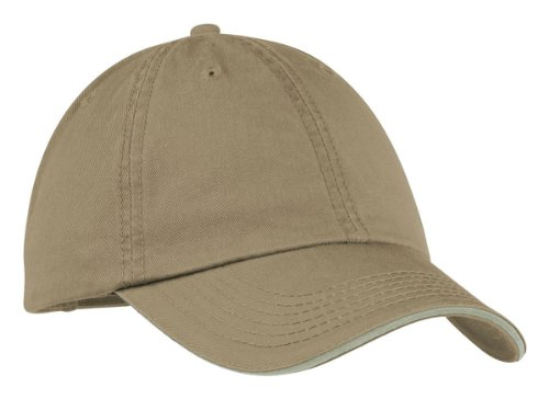 Port & Company Washed Twill Sandwich Unstructured Cap_Driftwood/Stone_One Size (Company Sandwich Bill Cap)