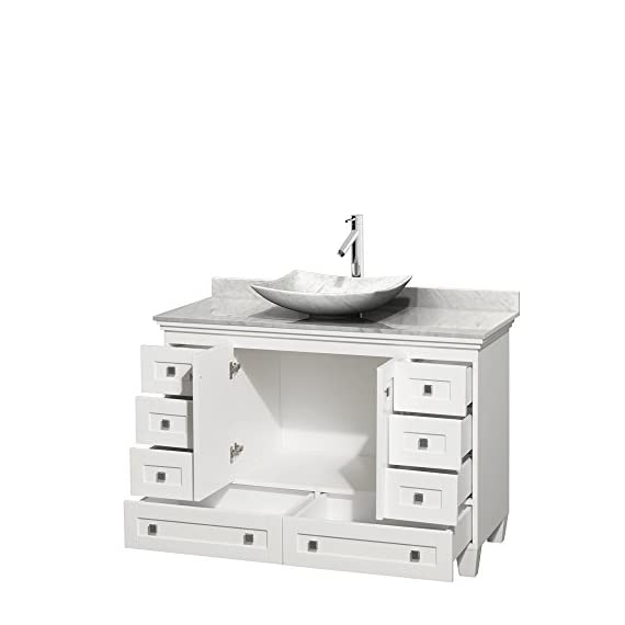 "Wyndham Collection Acclaim 48 inch Single Bathroom Vanity in White, White Carrara Marble Countertop, Arista White… - Constructed of environmentally friendly, zero emissions solid Oak hardwood, engineered to prevent warping and last a lifetime. 12-stage wood preparation, sanding, painting and hand-finishing process. Highly water-resistant low V.O.C. sealed finish. Cutting edge, unique styling by Interior Designer Christopher Grubb. Practical Floor-Standing Design. Minimal assembly required. Deep Doweled Drawers. Fully-extending under-mount soft-close drawer slides. Concealed soft-close door hinges. Metal exterior hardware with brushed chrome finish. Plenty of storage space. Two (2) functional doors. Eight (8) functional drawers. Faucet(s) not included. 3"" backsplash. - bathroom-vanities, bathroom-fixtures-hardware, bathroom - 41cWZ4zYuSL. SS570  -"